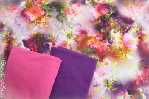 Puuvillane trikotaaž Lillad roosad oranžid lilled